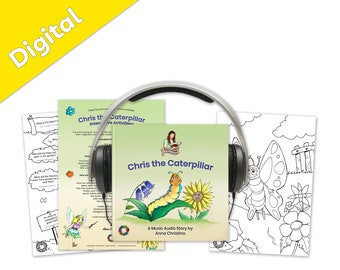 Music audiobook with interactive printables. Summer story with a fairy, flowers, and magic - Chris the Caterpillar Digital Storytime Package