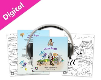Music audiobook including sing-along song and interactive printables to teach environmental values - Litter Bugs Digital Storytime Package