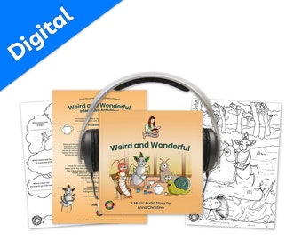 Music audiobook with cute sing-along song and fun interactive printables for kids - Weird and Wonderful Digital Storytime Package