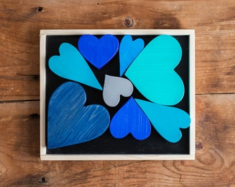 Blocks   Blue-rific Wooden Heart Puzzle   Wooden Hearts   Valentine's Day Gift   Toddler Gift