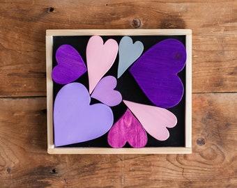 Blocks   Purplicious Wooden Hearts   Valentine's Day Gift   Heart Puzzle   Gift for Valentine's Day