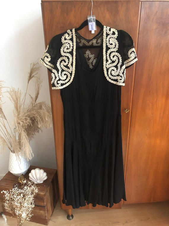 Original 1930s vintage dress with bohemian bolero