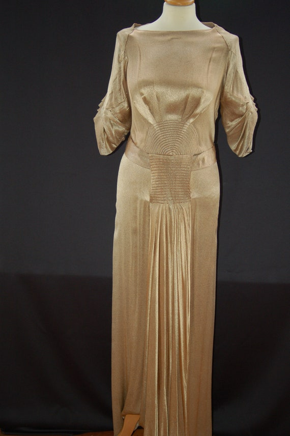 1930s evening dress with belt, golden lamee