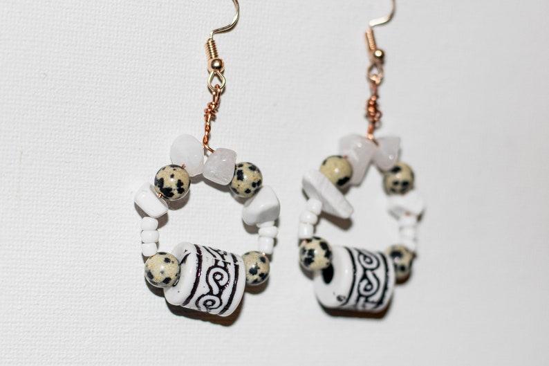 Howlite and Dalmation Stone Beaded Healing Crystal Hoop Earrings Quartz