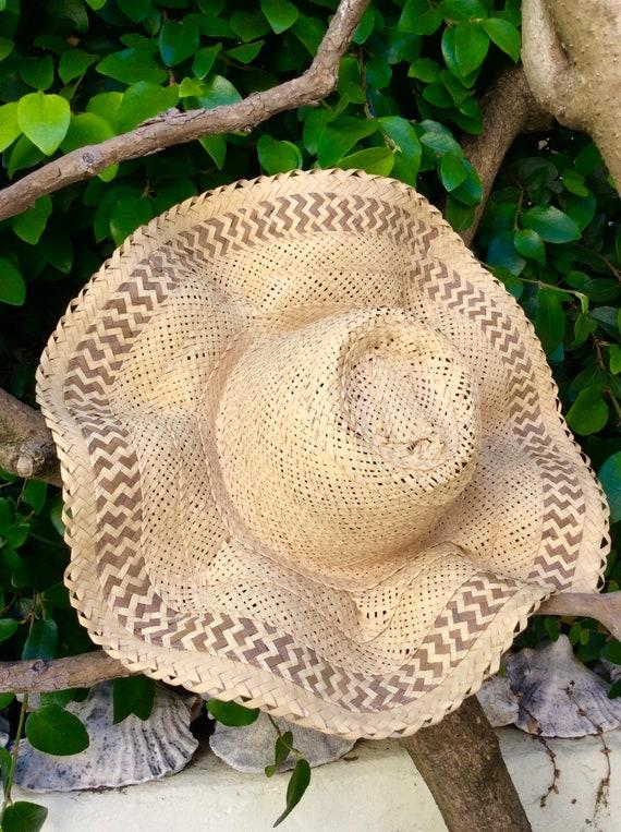 Handmade Bahamas Straw Wavy Brim Summer Hat - image 1