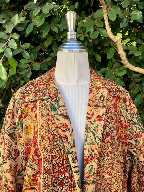 1960s Paisley Print Open Coat with Matching Face M