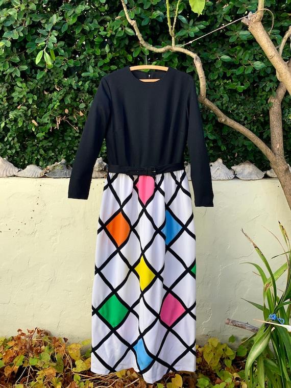 TONI TODD 1970s Geometric Dress & Matching Face Ma