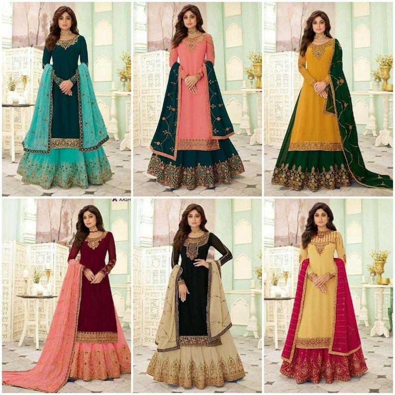 Stone work Salwar Kameez Indian Pakistani Palazzo Wedding Lehenga Dress RD Designer Salwar Kameez Plazo Suit Fox Georgette With Embroidery