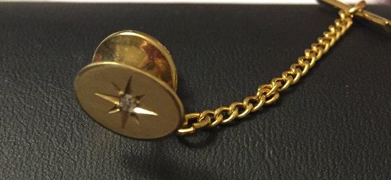14k Gold Tie Tack Double Crescenet Vintage Tie Accessory