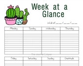 Printable At-a-Glance Weekly Planner, Non-Dated Page To-Do Lists