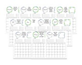 2021 Monthly Planner Calendar Set, Blue Green Floral Planner Printable, 12 page Monthly Planner, Goal Planner,  Letter Size 8.5X11