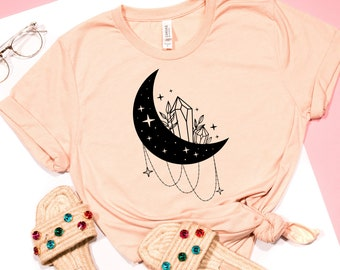 Crescent Crystal Moon Shirt, Moon Shirt, Crystals Shirt, Celestial Shirt, Women Graphic Shirt