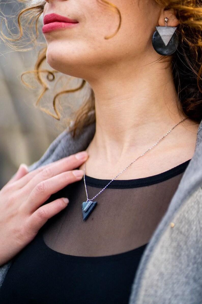 Steel Grey Triangles Jewelry Set