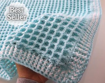 Crochet Easy Waffle Baby Blanket   Sirin's Crochet   Instant PDF Download
