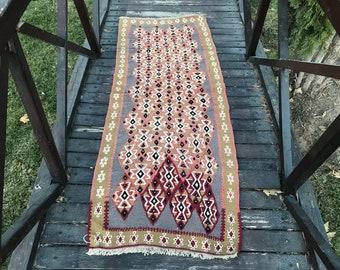 Runner rug, Vintage rug, Kilim rug, Turkish rug, Handmade rug, Bohemian rug, Moroccan rug, Oushak rug, Woven rug, AK 115 6.7x2.4 ft