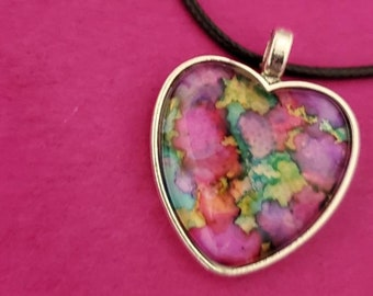 Glass Prism Alcohol Ink Necklace wEarrings ~ Rectangle Multi Color Kaleidoscope Jewelry ~ Valentine Gift ~ Handcrafted by Donna/'s Peaces