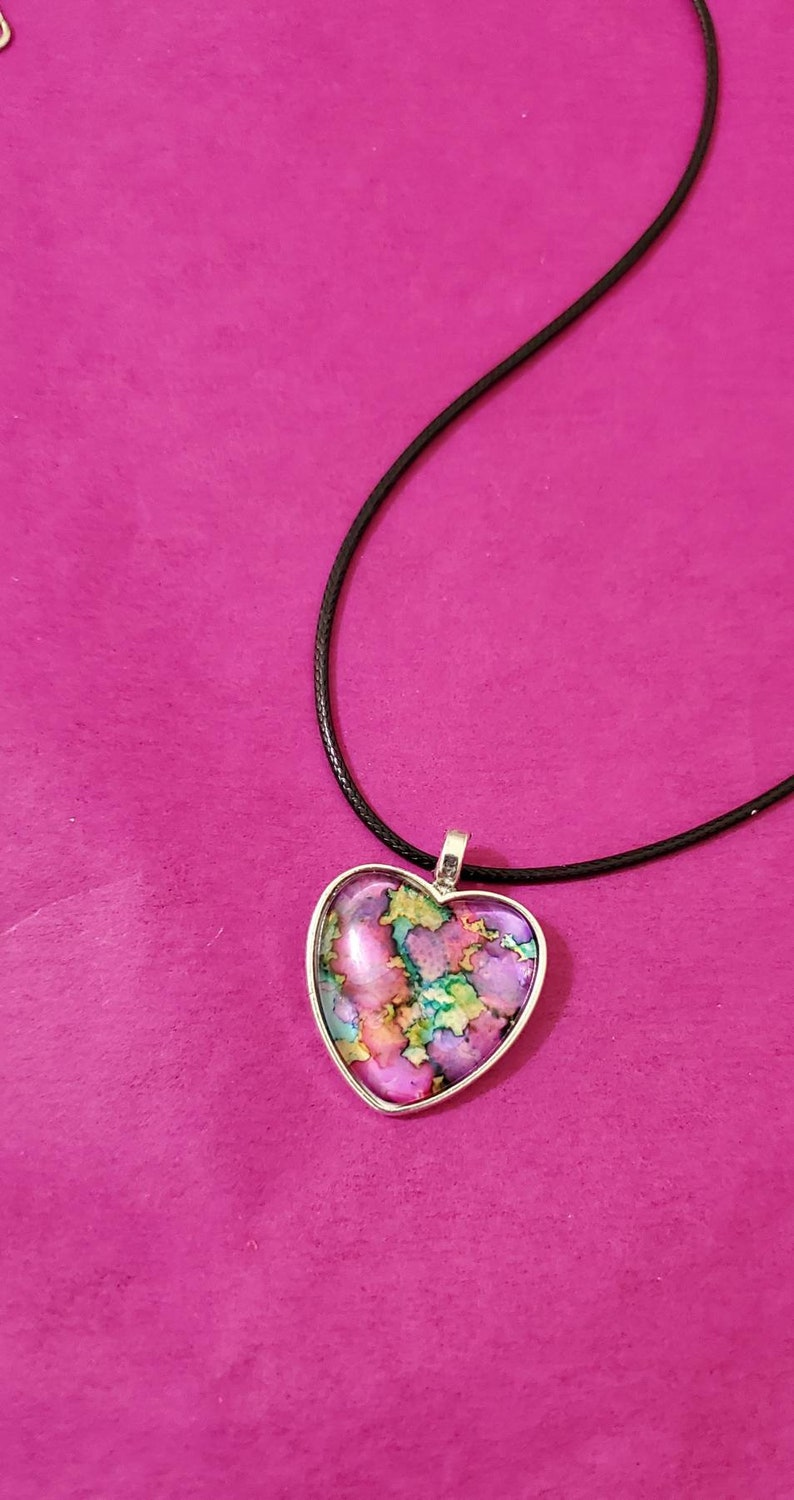 BE MINE ~ Alcohol Inked Heart Necklace ~ Alcohol Ink Rainbow Prism ~ Heart Pendant Art Gift ~ One of a Kind ~ Handcrafted by Donna/'s Peaces