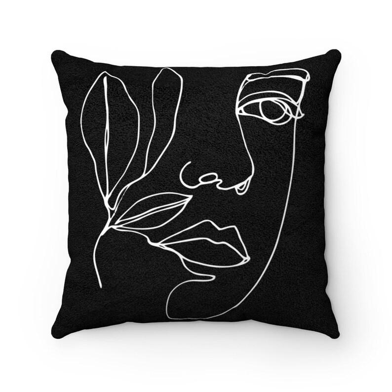Line Art Black Faux Suede Square Pillow Minimalist Art 1