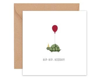 "Folding card ""Hip-hip, hooray!""   Congratulations card   Birthday Card   Card with envelope   Congratulations   Party Turtle   Card Set"