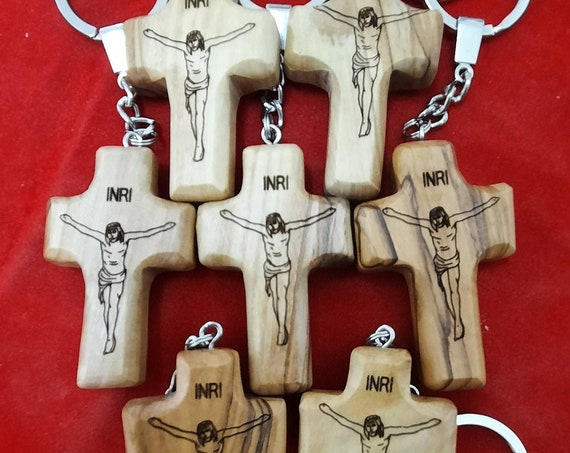 olive wood comfort cross key chain .100 PIECE  ....FREE SHIPPING