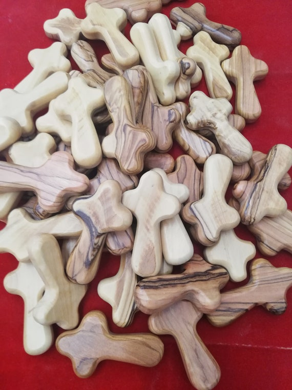 comfort cross 6.5 cm  (30) piece  . hand carved olive wood comfort cross by christian families in the holy land . ((free shipping )) .