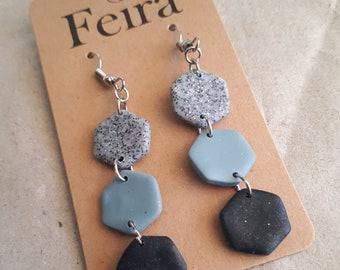 Turquoise and silver kidney hook polymer clay earrings