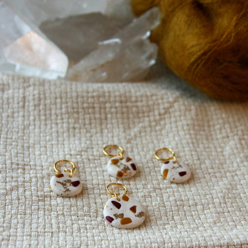 Handmade stitch markers for knitting made of polymer clay