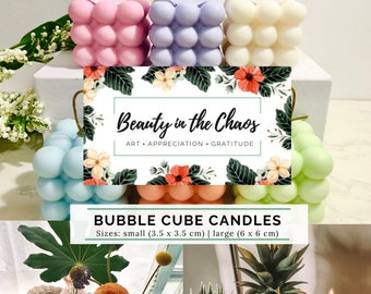 Bubble Cube Candles | Soy Wax | Pure Essential Oils | Natural Cotton Wicks | Self-care | Minimalist Aesthetic | Gift | Home Decor