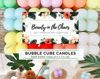 Small Bubble Cube Candle | Soy Wax | Pure Essential Oils | Natural Cotton Wick | Self-Care | Aesthetic Decor | Birthday Gift | For Her