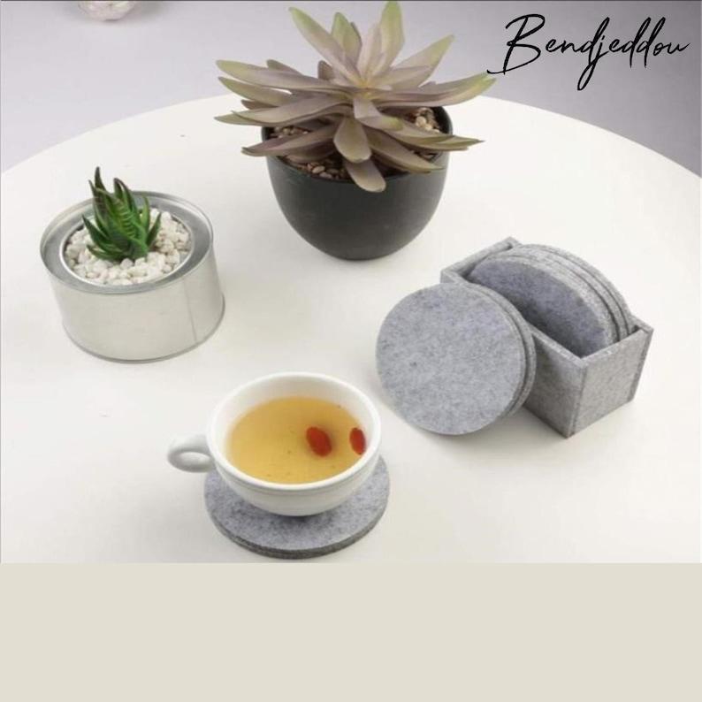 8 Pcs  Set Round and Hexagon Coasters By Bendjeddou Felt Coaster Cup Mat Pad Set