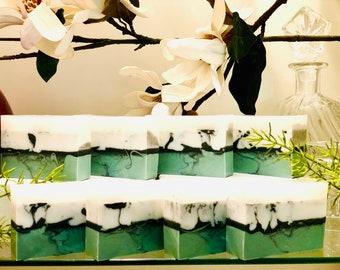 6oz Eucalyptus & Peppermint Menthol Soap|Body Bath Bar|Scented Soap Bar|Green|Throat Chakra Cleanse|Handmade Soap|Aromatherapy