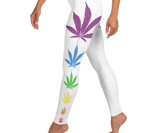 Rainbow Weed Leaf Stoner Girl Leggings