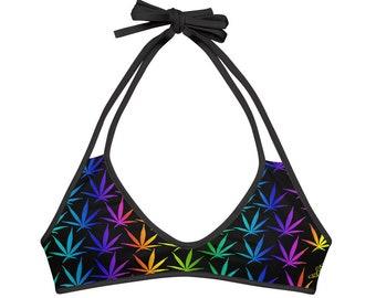Cute Reversible Rainbow Weed Leaf Stoner Bathing Suit Bikini Top