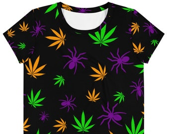 Stoner Girl Halloween Weed Crop Top with Spiders and Cannabis Leaves