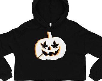 Stoner Girl Halloween Weed Pumpkin Crop Top Hoodie