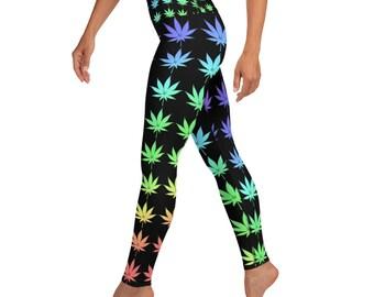 Bright Rainbow Weed Stoner Girl High Waisted Yoga Leggings
