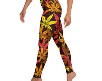 Weed Leaf Fall Time Stoner Girl High Waisted Yoga Leggings