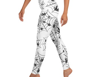 Spooky Halloween Stoner Girl Spider Web Weed Yoga High Waisted Leggings