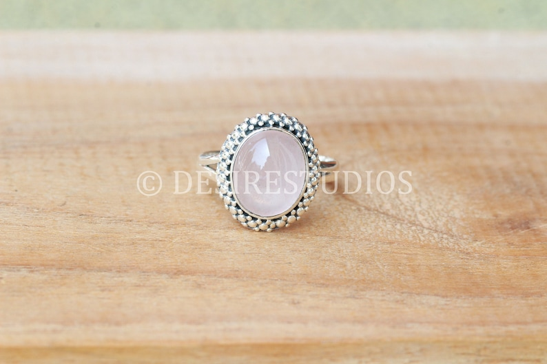 925 Solid Sterling Silver Natural Rose quartz Ring handmade silver ring available in all US Ring sizes Statement ring