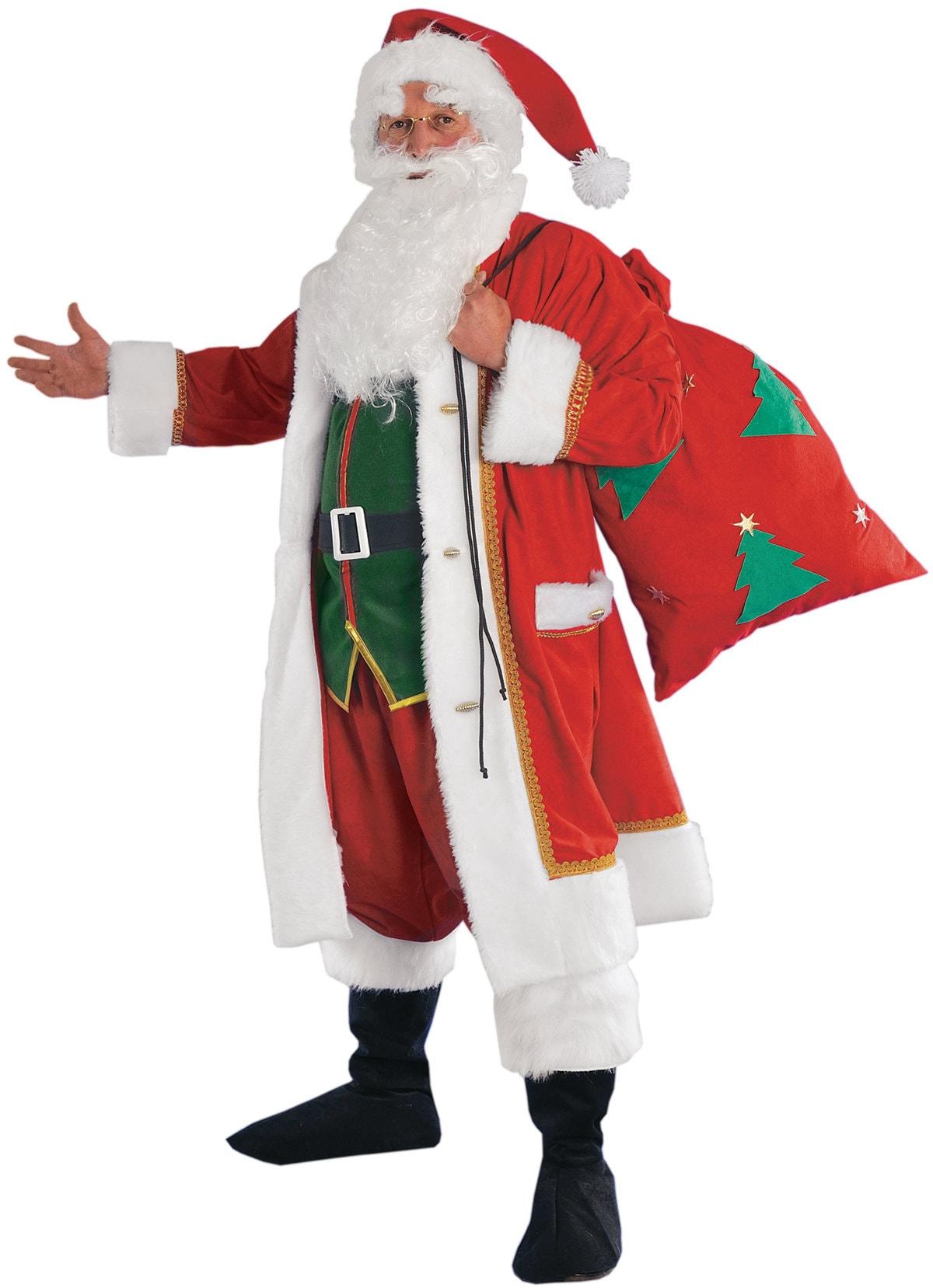 10 Piece Santa Claus Suit Adult 2 Sizes Costume Velvet Burgundy