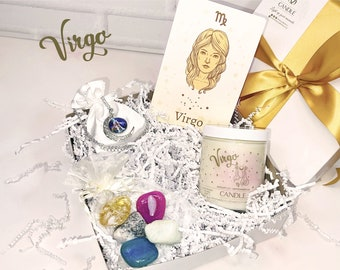 Virgo Gift Box Horoscope Sign Personalized Candles, Zodiac Crystal Candles, Zodiac Sign Necklace Jewelry Included, Astrology Scented Candles