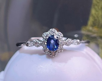 Sapphire Sterling Silver Ring,Sapphire Engagement,Birthstone Ring,Sapphire Jewelry,Handmade ring,Drop ring,Ring For Girls,NUR-3857