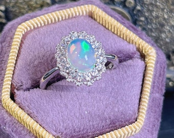 Sterling Silver Opal Ring,White Opal Ring,October Birthstone Ring,Vintage Palace Adjustable Halo CZ Ring
