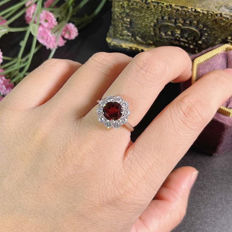 Round 8*8 mm Red Garnet Gemstone Ring  Garnet Ring Jewelry  January Birthstone Ring  Handmade Sterling Silver Band Ring  Gift for Her