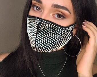 Mask,Face Mask,Mode Gesicht Maske Mit Strass Elastische Wiederverwendbare Waschbar Weihnachten Masken