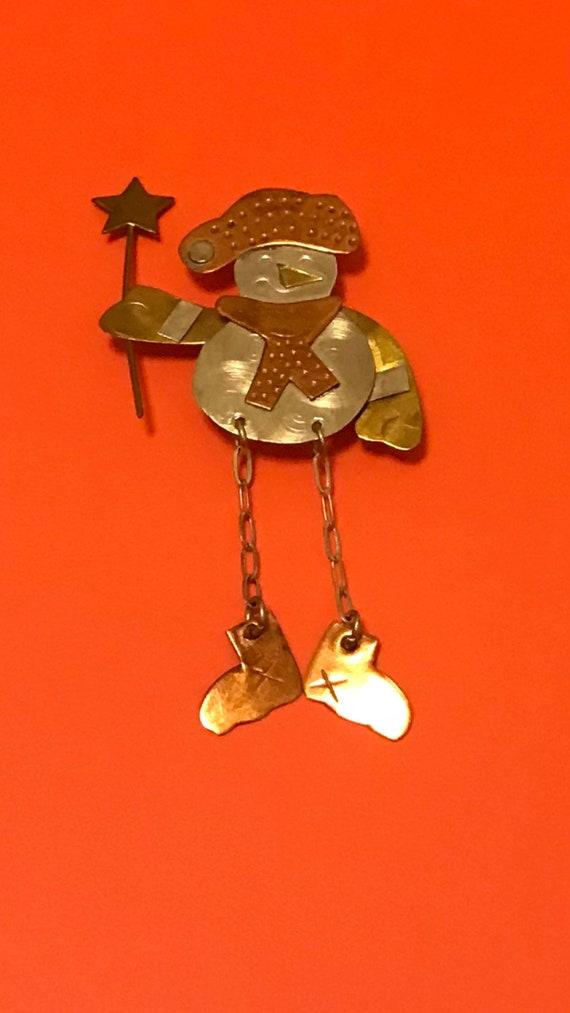 Vintage snowman brooch pin