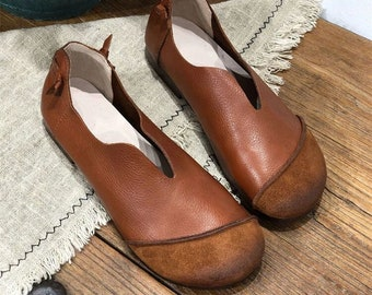 Real leather woman Handmade ShoesWomen leather,Shoes,Flat Shoes,Retro Leather Shoes,Casual Shoes,Loafers,Pregnant woman Shoes,soft sole shoe
