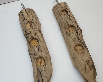 Loaded Double Suet Driftwood Bird Feeder
