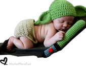 Star Wars Newborn 0 to 3 Months Baby Knit Crochet Photography Accessories Props Gift Showers Idea Hat Pant Trouser Set Lightsaber Jedi YODA