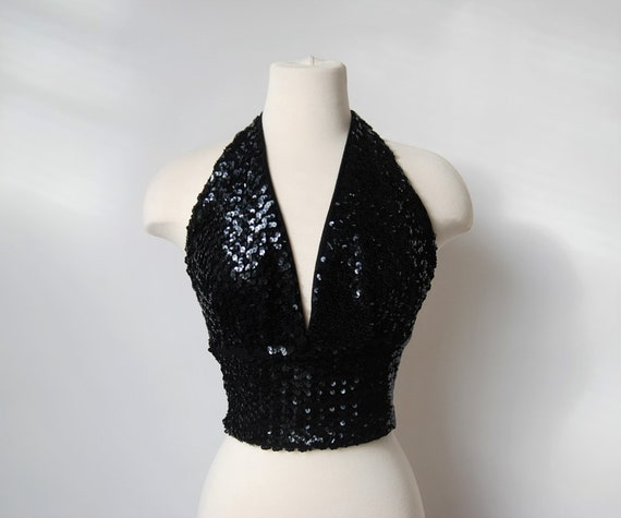 1950s Deep V Halter Top Black Sequins Tie Back S M